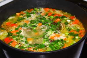 Cooking of vegetable soup