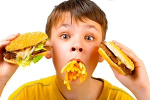 crazy kid eating fast food